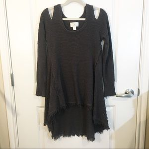 Ruby moon distress cold shoulder oversized sweater